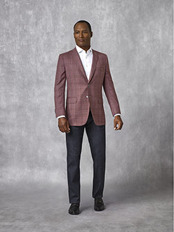 Tom James Men's Custom                                                                                                                                                                                                                                    , Burgundy Plaid Sport Coat - Oxxford Collection
