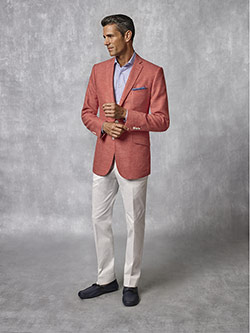 Custom Coral Plain Blazer - Oxxford Collection