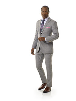 Custom Light Gray Windowpane Suit - Royal Classic Collection