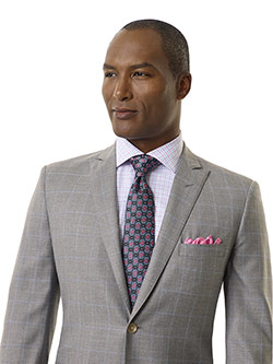 Royal Classic Collection                                                                                                                                                                                                                                  , Light Gray Windowpane Suit - Royal Classic Collection