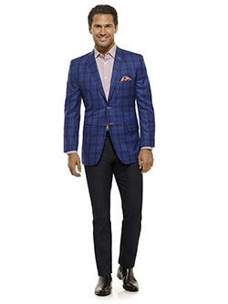 Royal Classic Collection                                                                                                                                                                                                                                  , Royal Blue Plaid Sport Coat - Royal Classic Collection