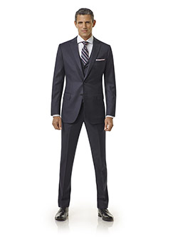 Tom James Men's Custom                                                                                                                                                                                                                                    , Navy Solid Holland and Sherry Royal Mile Suit