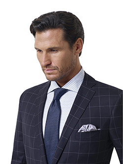 Custom Navy Tramline Windowpane Holland and Sherry Royal Mile Suit