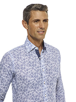 CUSTOM SHIRTS                                                                                                                                                                                                                                             , Tom James Custom Blue Floral Print Shirt