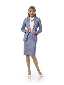 Women's Custom Clothing                                                                                                                                                                                                                                   , Blue Windowpane Suit - Tom James Women Collection