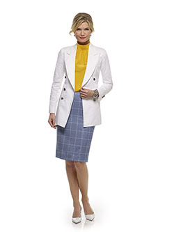 Tom James Women Custom                                                                                                                                                                                                                                    , White Plain Blazer - Tom James Women Collection