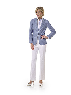 Tom James Women Custom                                                                                                                                                                                                                                    , Blue Windowpane Jacket - Tom James Women Collection
