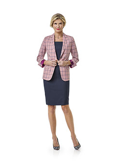 Women's Custom Clothing                                                                                                                                                                                                                                   , Blush Windowpane Suit- Tom James Women Collection