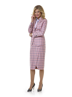 Tom James Women Custom                                                                                                                                                                                                                                    , Blush Windowpane Suit- Tom James Women Collection