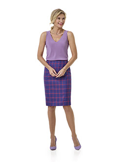 Tom James Women Custom                                                                                                                                                                                                                                    , Blue Plaid Skirt - Tom James Women Collection