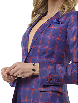 Tom James Women Custom                                                                                                                                                                                                                                    , Blue Plaid Suit - Tom James Women Collection