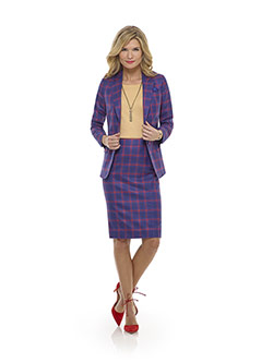 Custom Blue Plaid Suit - Tom James Women Collection