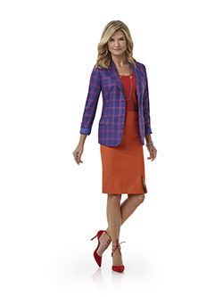 Tom James Women Custom                                                                                                                                                                                                                                    , Blue Plaid Jacket - Tom James Women Collection