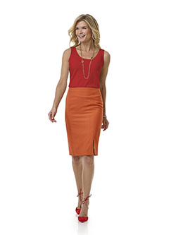 Tom James Women Custom                                                                                                                                                                                                                                    , Orange Plain Skirt - Tom James Women Collection
