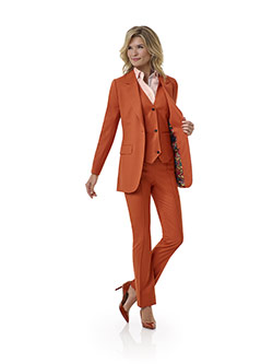 Women's Custom Clothing                                                                                                                                                                                                                                   , Orange Plain Suit - Tom James Women Collection