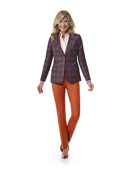 Tom James Women Custom                                                                                                                                                                                                                                    , Orange Plaid Vest - Tom James Women Collection