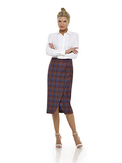 Tom James Women Custom                                                                                                                                                                                                                                    , Orange Plaid Skirt - Tom James Women Collection
