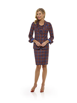 Tom James Women Custom                                                                                                                                                                                                                                    , Orange Plaid Suit - Tom James Women Collection
