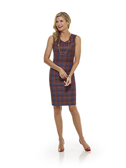 Tom James Women Custom                                                                                                                                                                                                                                    , Orange Plaid Dress - Tom James Women Collection