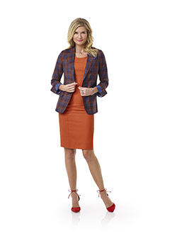 Custom Orange Plaid Jacket - Tom James Women Collection