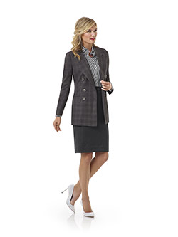 Custom Charcoal Windowpane Suit - Tom James Women Collection
