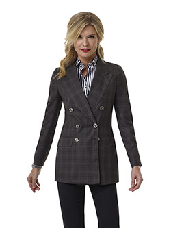 Tom James Women Custom                                                                                                                                                                                                                                    , Charcoal Windowpane Jacket - Tom James Women Collection