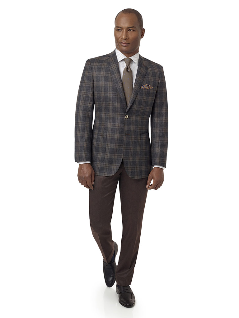Charcoal & Brown Plaid Sport Coat