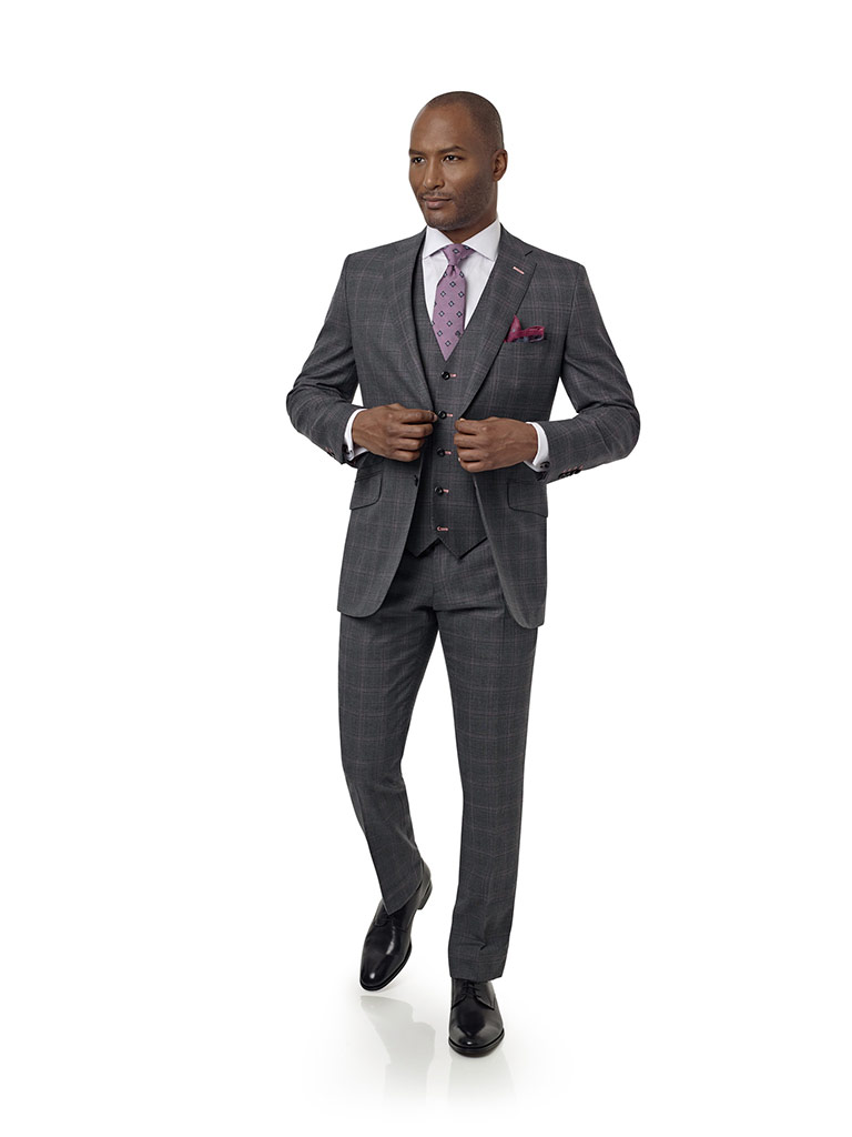 Gray & Violet Plaid Suit