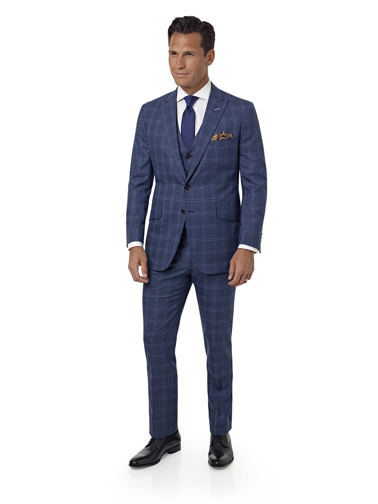 Blue Gray Windowpane Suit