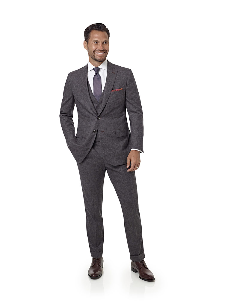 Aubergine Plain Suit with Stretch