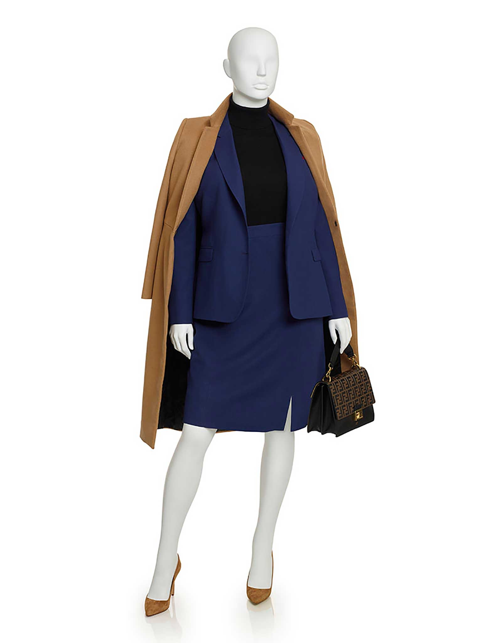 Royal Blue Wool Crepe Skirt Suit