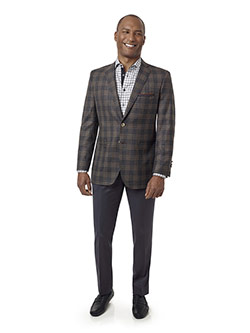 Custom Charcoal & Brown Plaid Sport Coat