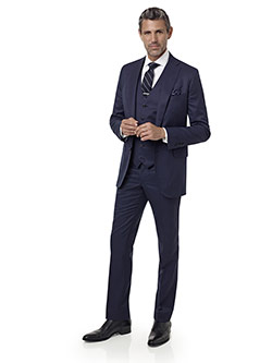 Men's Custom Clothing                                                                                                                                                                                                                                     , Navy Plaid Suit