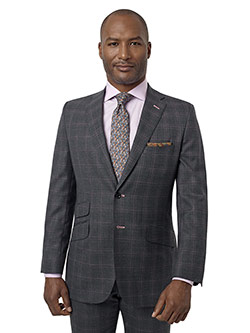 Custom Gray & Violet Plaid Suit