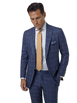 Custom Blue Gray Windowpane Suit