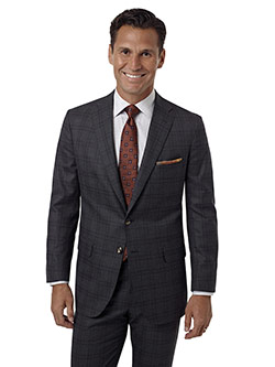 Custom Charcoal Windowpane Suit