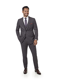 Men's Custom Clothing                                                                                                                                                                                                                                     , Aubergine Plain Suit with Stretch