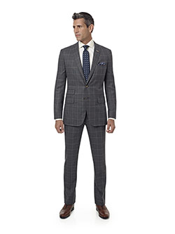 Men's Custom Clothing                                                                                                                                                                                                                                     , Gray & Tan Plaid Suit