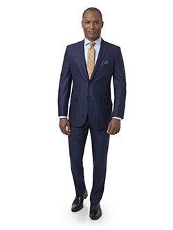 Men's Custom Clothing                                                                                                                                                                                                                                     , Navy Windowpane Suit