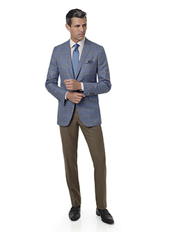 Men's Custom Clothing                                                                                                                                                                                                                                     , Light Blue Plaid Sport Coat