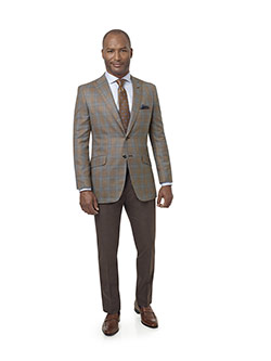 Men's Custom Clothing                                                                                                                                                                                                                                     , Light Tan Plaid Sport Coat