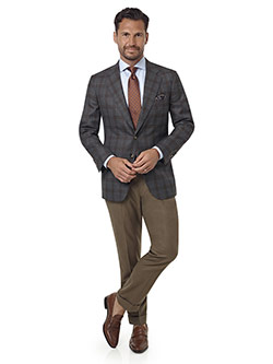 Men's Custom Clothing                                                                                                                                                                                                                                     , Gray & Brown Plaid Sport Coat