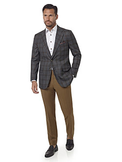 Custom Gray & Brown Plaid Sport Coat