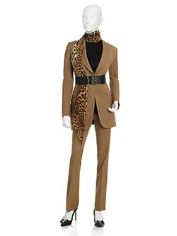 Women's Custom Clothing                                                                                                                                                                                                                                   , Solid Mustard Worsted Wool Suit
