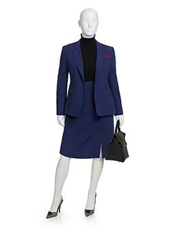 Custom Royal Blue Wool Crepe Skirt Suit