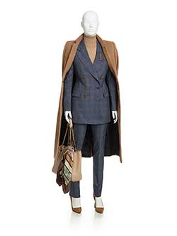 Women's Custom Clothing                                                                                                                                                                                                                                   , Blue Check Wool/Cashmere Blend Suit
