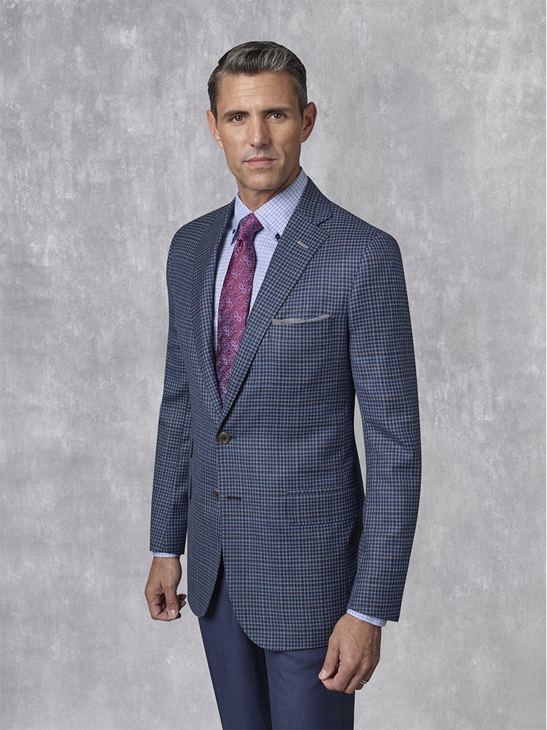 Holland & Sherry -Crystal Springs - Navy Windowpane Sport Coat
