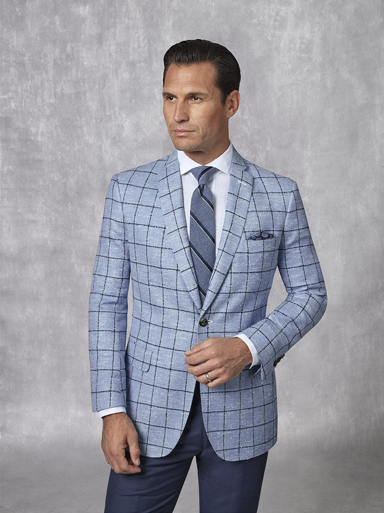 Holland & Sherry -Crystal Springs - Sky Blue Windowpane Sport Coat