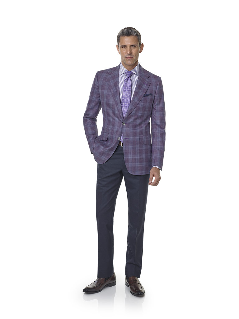 Wool, Silk, Linen Blend - Plum Plaid Sport Coat