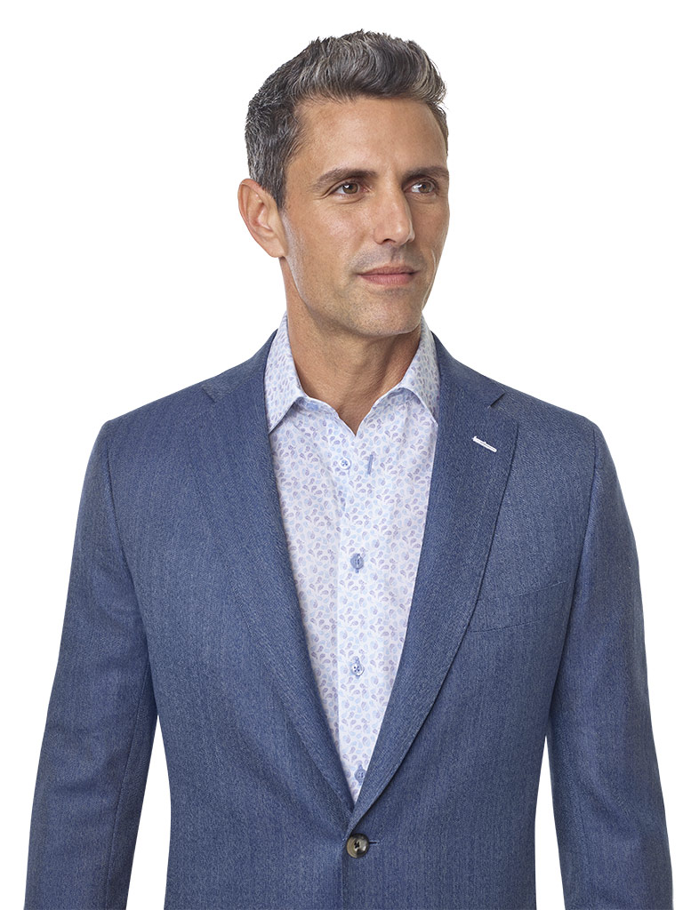 2020 Lookbook                                                                                                                                                                                                                                             , Super 100's Wool - Heather Blue Herrinbone Men's Sport Coat